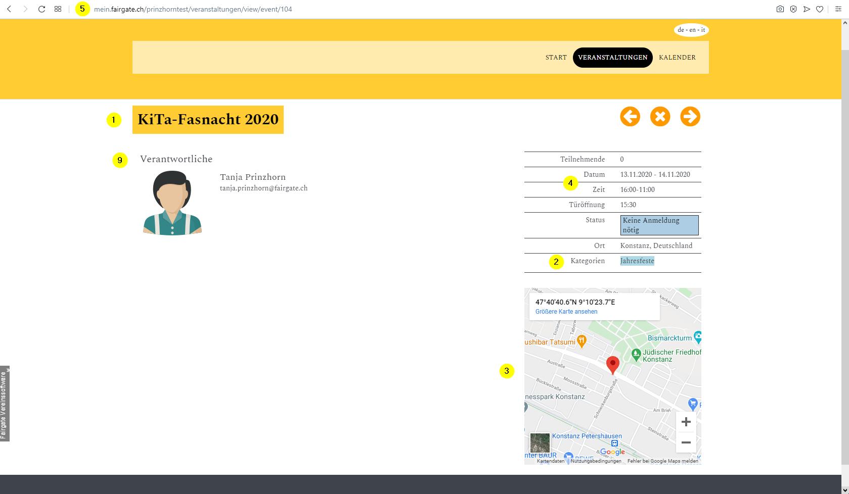 Ein Event erstellen   Benutzerhandbuch Fairgate 8